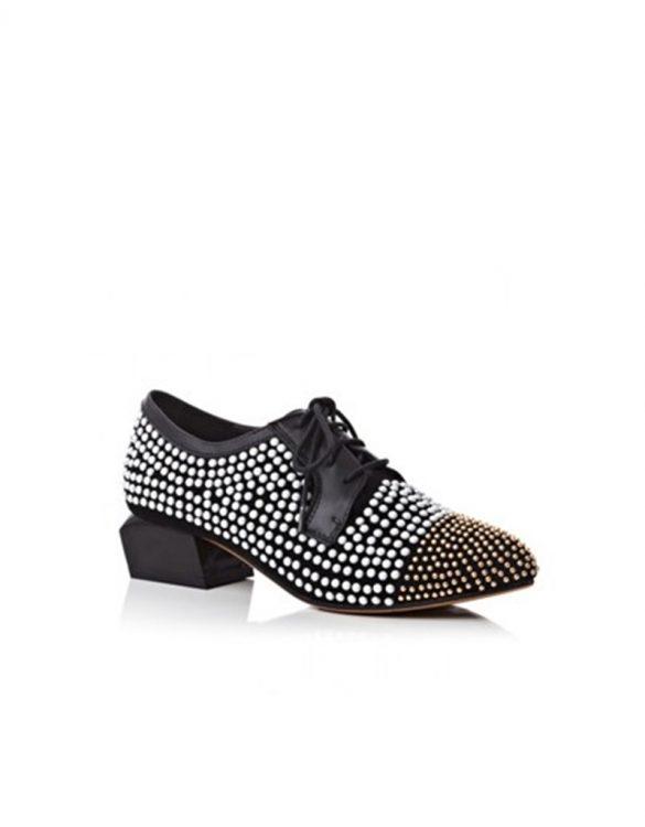 siyah zımbalı deri oxford ayakkabı sk16406