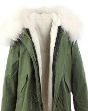 sk15054 beyaz kürklü yeşil mont
