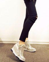 sk15934 gümüş parlak gizli topuk ayakkabı