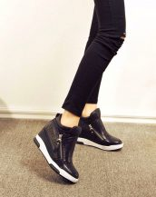 sk15934 siyah parlak gizli topuk ayakkabı