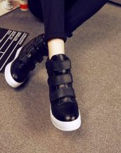 sk16414 siyah bantlı deri sneaker