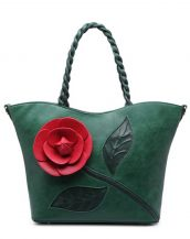 yeşil çiçek tasarım tote çanta sk15294
