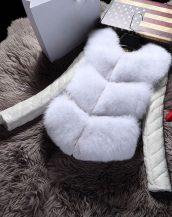 beyaz kolları deri kürk ceket sk17411
