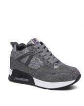 gri yüksek taban parlak spor ayakkabı sk16909
