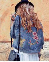 işlemeli mavi kot ceket sk16630