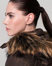 kürk kapşonlu bayan ceket sk16972