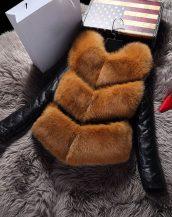 kahverengi kolları deri kürk ceket sk17411
