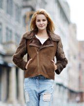 kahverengi kolları kürk bayan süet ceket sk16762