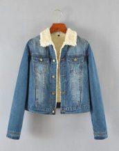 mavi içi muflonlu kot ceket sk16763