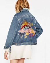 mavi karikatür işlemeli kot ceket sk16636