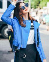 mavi kemerli kısa deri ceket sk17307