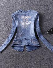 mavi nakış detaylı bayan kot ceket sk16800