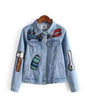 payet işlemeli buz mavisi bayan denim kot ceket sk16677