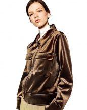retro kahverengi parlak kadife bayan ceket sk17215