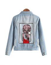 sevimli karikatürlü yırtık bayan kot ceket sk16691