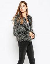 siyah uzun tüylü kürk ceket sk16571