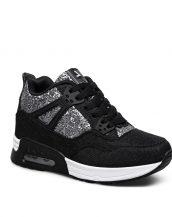 siyah yüksek taban parlak spor ayakkabı sk16909