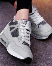 sk16909 gümüş simli yüksek taban spor ayakkabı