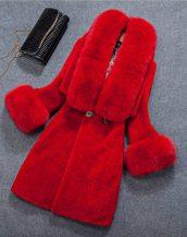 kırmızı önden düğmeli kürk kaban sk18422