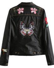 siyah kelebek işlemeli deri ceket sk18472