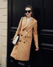 taba kruvaze yaka bayan palto sk18271