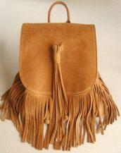 taba süet püsküllü sırt çantası sk18065