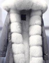 gri beyaz önü kürklü renkli kapüşonlu parka sk18840