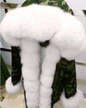 kamuflaj beyaz önü kürklü renkli kapüşonlu parka sk18840
