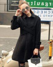 siyah düğmeli bayan kaşe kaban sk19041