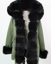 yeşil siyah önü kürklü renkli kapüşonlu parka sk18840