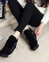 siyah gizli topuk fermuarlı sneaker sk19855