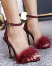 bordo kürklü ince topuk sandalet sk20660