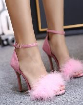 pembe kürklü ince topuk sandalet sk20660