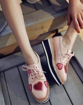 pembe kalpli oxford platform ayakkabı sk20630