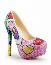 renkli taş işlemeli platform topuk ayakkabı sk20680