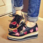 siyah kalpli oxford platform ayakkabı sk20630