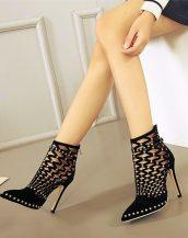 siyah zımbalı yüksek topuklu ayakkabı sk20595