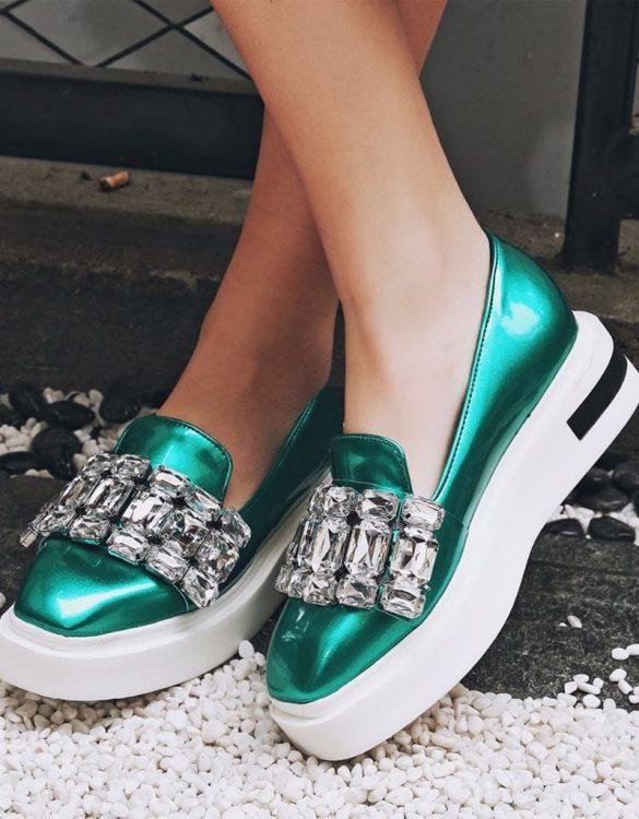 yeşil taşlı platform topuk loafer sk20649