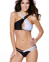çapraz askılı siyah beyaz bikini sk20957