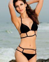 çift askılı siyah destekli bikini sk20927