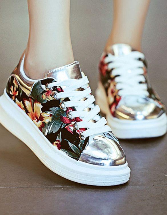 çok renkli burnu metal desenli spor ayakkabı sk21516