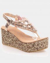 altın sim ve taş detaylı platform sandalet sk21145
