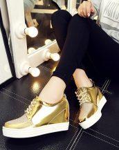 altın simli gizli topuklu ayakkabı sk21362
