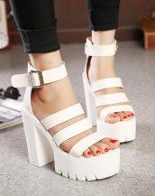 beyaz platform topuk bantlı sandalet sk21217