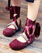 bordo taş işlemeli süet balerin ayakkabısı sk20902