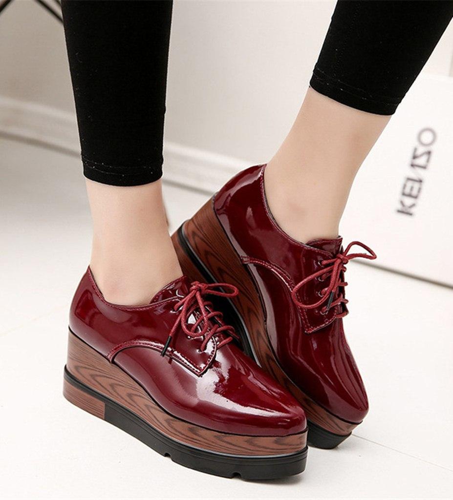 bordo yüksek taban parlak oxford ayakkabı sk21687