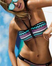 boyundan bağlamalı renkli bikini sk21058