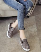 bronz simli ve zımbalı gizli topuk ayakkabı sk21378
