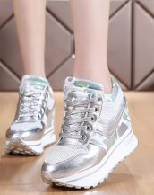 gümüş parlak bağcıklı gizli topuk ayakkabı sk21472
