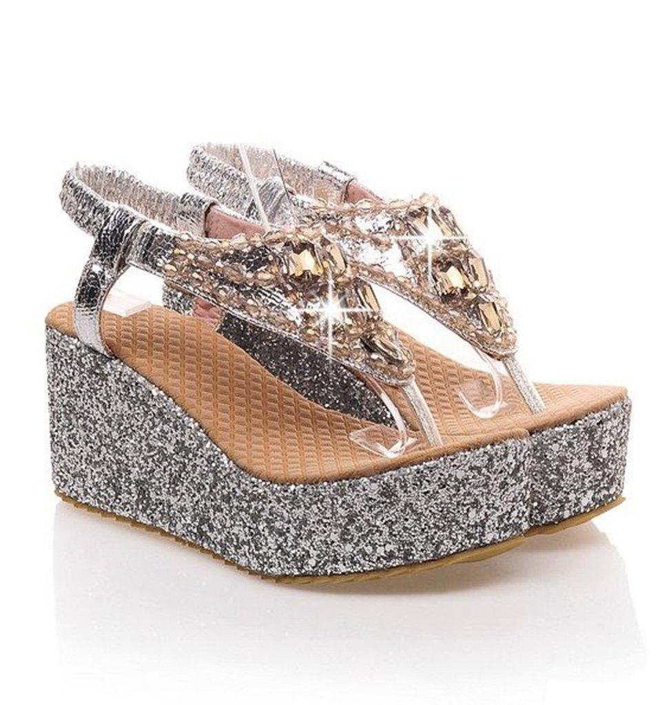 gümüş sim ve taş detaylı platform sandalet sk21145